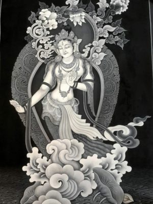 Beautiful high qualtiy white tara newari thangka