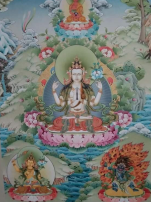 4 Armed Chenrezig thangka painting